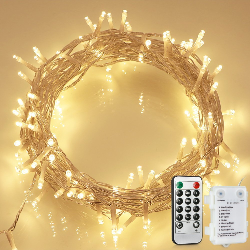 aloici 100 led outdoor battery fairy lights with remote timer. Black Bedroom Furniture Sets. Home Design Ideas